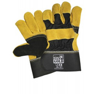Premium Gold/Black Leather Reinforced Gloves