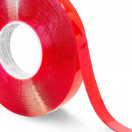 Transparent Double Sided Polyester Tape - with Red MOPP Liner (Per Roll)