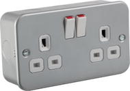 Metal Clad 13A 2G DP Switched Socket