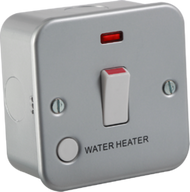 "Metal Clad 20A 1G DP Switch With Neon & Flex Outlet ""Water heater"""