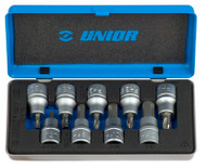 "Unior 9pc Screwdriver socket set 1/2"" in metal box"