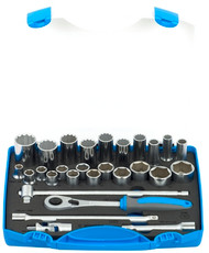 "Unior 28pc Socket set 1/2"" in plastic box"