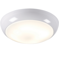 IP44 28W HF Polo Bulkhead with Opal Diffuser and White Base