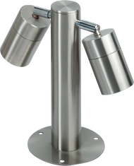 IP65 Two x GU10 35 Watt Max Adjustable Stainless Steel Bollard-245mm