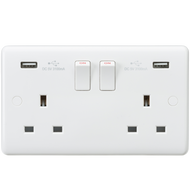 Curved Edge 13A 2G Switched Socket with Dual USB Charger