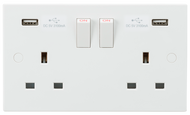13A 2G Switched Socket with Dual USB Charger