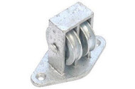 Double Upright Cast Pulley - Galv Cast Wheel Across Plate