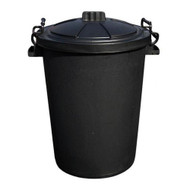 80L Black Plastic Warehouse Bin With Clip On Lid