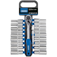 "Draper 1/2"" Sq Drive Combined Metric & Imperial Deep Socket Set (20 Piece)"