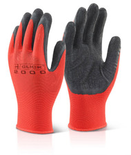 Black/Red Latex Poly Grippa Gloves