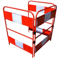 Red/White Gate Guard 3 Metal Panels Complete