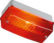 IP65 100W E27 Bulkhead with Red Prismatic Diffuser