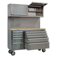 Mobile Stainless Steel Tool Cabinet 10 Drawer with Backboard & 2 Wall Cupboards