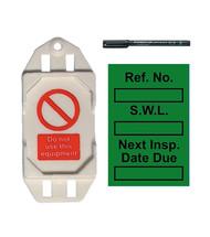 Safe Working Load Mini Tag Insert Kit - Green (20 AssetTag holders, 40 inserts, 1 pen)