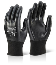 Nitrile Fully Coated Polyester Black Gloves (Pack of 10 Gloves)