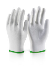 Polyester Knitted Line Gloves White (Per Pack Of 10)