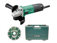 Hikoki Angle Grinder 115mm Diamond Blade & Case 600w