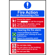 Fire Action Procedure On Discovering A Fire Sign (200 x 300mm)