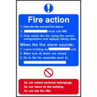 Basic Fire Action Procedure Sign (200 x 300mm)
