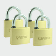 Veto 40mm Brass Keyed Alike Padlocks 4pk