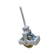 44mm Double Screw Cast Pulley - BZP Cast Wheel White