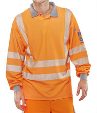 Hi-Vis Arc Compliant GO/RT Long Sleeved Polo Shirt - Orange