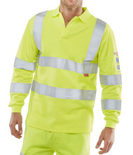 Hi-Vis Arc Compliant Long Sleeved Polo Shirt - Yellow