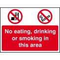 No Eating, No Drinking, No Smoking Sign RPVC (600 x 450mm)