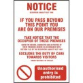 Occupiers Liability Act 1995 (Information) - PVC (200 x 300mm)