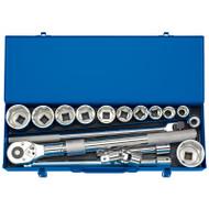 """Draper 3/4"""" Sq Metric Socket Set In Metal Case (19-55mm)"""