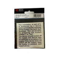 Important RCD Test Label 75 x 75mm Self Adhesive (Pack of 5)