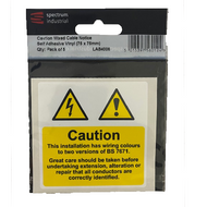 Caution Mixed Cable Notice 75 x 75mm Self Adhesive (Pack of 5)