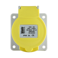 Defender 32A Panel Socket - Yellow 110V