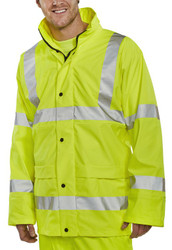 B-Seen Yellow Hi-Vis PU Breathable Rain Jacket