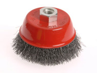 Faithfull Wire Cup Brush 75mm x M14 x 2 Stainless Steel 0.30mm
