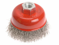 Faithfull Wire Cup Brush 80mm x M14 x 2 Stainless Steel 0.30mm