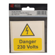 75mm x 75mm Electrical Safety Self Adhesive Vinyl Labels (Pack Of 5)