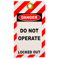 Lockout Tag with Eyelet - Do not operate/Locked Out (Double Sided, Pack 10 Tags)