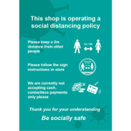 This Shop Is Operating A Social Distancing Policy Turquoise - RPVC (300 x 400mm)