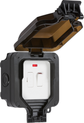 IP66 Outdoor 13A Switched Fused Spur Unit With Neon - Black