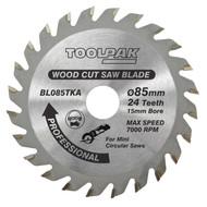 85mm x 15mm x 24T Thin Kerf Cordless TCT Saw Blade