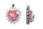22x26mm Rose Pink Heart Rhinestone With Flower Pendant