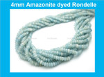 "4mm Amazonite Dyed Rondelle Beads 15.5"""