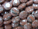 15mm Brazil Agate Puff Coin Beads 15.5""