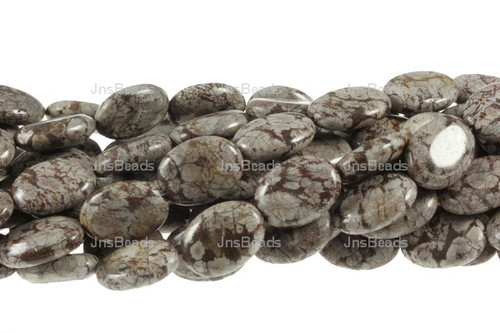 """12x16mm Brown Agate Puff Oval Beads 15.5"""""""