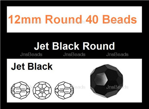"12mm Jet Black Crystal Faceted Round 40 Beads (Approx.18"")"