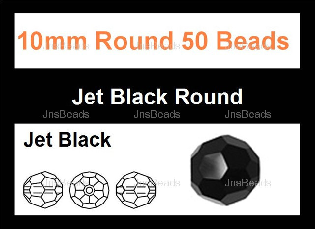 "10mm Jet Black Crystal Faceted Round 50 Beads (Approx.18"")"