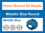 "10mm Metallic Blue Crystal Faceted Round 50 Beads (Approx.18"")"