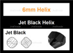 6mm Jet Black Crystal Faceted Helix Beads Approx.22""