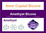 """8mm Amethyst Crystal AB Faceted Bicone Beads Approx.12"""""""